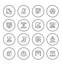 set round line icons of industry vector image