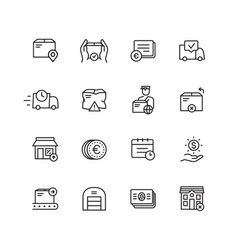 shipment and delivery icons set vector image