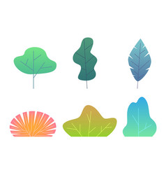 simple green trees branches and bushes minimal vector image