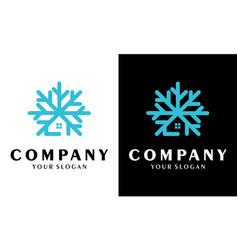 Snowflake house logo design freeze-resistant icon vector