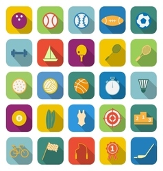 Sport color icons with long shadow vector