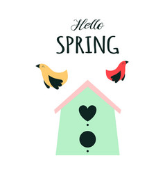 spring card with birdhouse and birds vector image