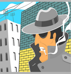 Spy in hat with cigarette vector