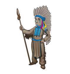 statuette of the leader of a tribe of indians vector image