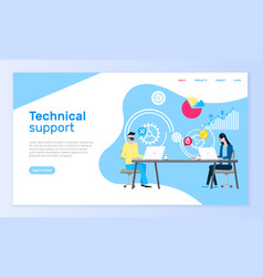 Technical support online web page operators aid vector