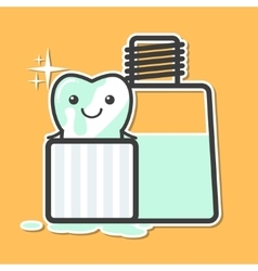 Tooth washing in mouthwash vector image