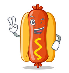 two finger hot dog cartoon character vector image