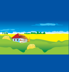 Ukrainian landscape with country house vector