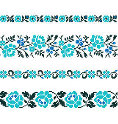 ukrainian old embroidery and patterns vector image