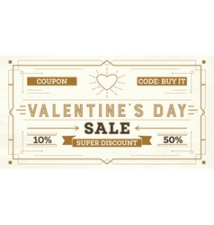 Valentines Day Sale Retro Background vector image