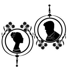 wedding silhouette flourishes 6 vector image