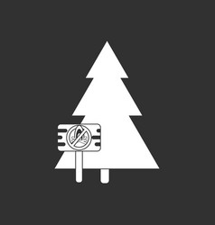White icon on black background fir-tree with vector