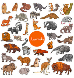Wild mammals animal characters big set vector