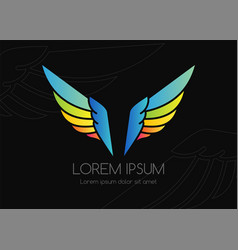 wing logo colorful emblem in simple style vector image