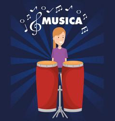 Woman playing bongo drum tropical instrument vector