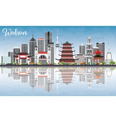 Wuhan Skyline with Gray Buildings vector image