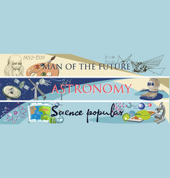 Colored doodle science horizontal banners vector
