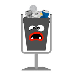garbage monster face can with metal vector image