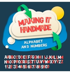 Paper alphabet letters and numbers with cloud vector image
