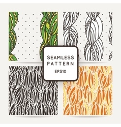 Set of four seamless decorative patterns with vector image