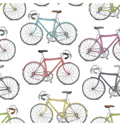 vintage road bicycle seamless pattern hand drawn vector image vector image