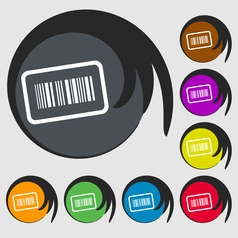 Barcode icon sign Symbol on eight colored buttons vector image