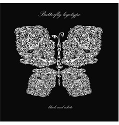 butterfly template on black logo design vector image