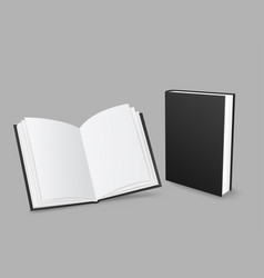 closed and open black book vector image vector image