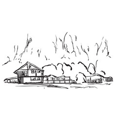 landscape with trees and house hand drawn sketch vector image