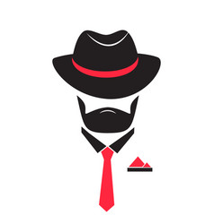 man in a hat and tie gentleman in mafia style vector image