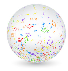 musical ball with colorful notes vector image