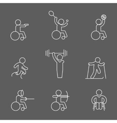 Paralympic disabled outline pictogram icons vector image vector image
