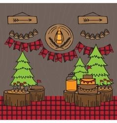 Rustic Woodsy Outdoor Lumberjack party ideas vector image