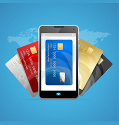 concept of phone pay with credit plastic card vector image