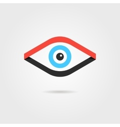 eye logotype from red and black ribbons vector image vector image
