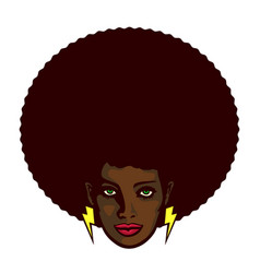 funky black woman face with afro hairstyle vector image vector image