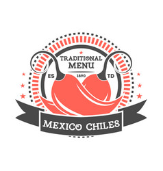 Mexico chiles vintage isolated label vector