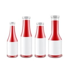 Set of Glass Red Ketchup Bottles with labels vector image vector image
