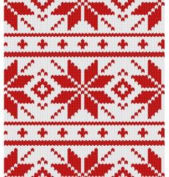Skandinavian red knitted pattern vector