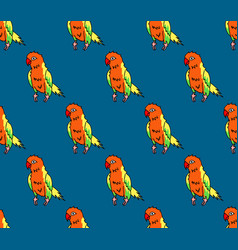 colorful parrot on indigo blue background vector image vector image