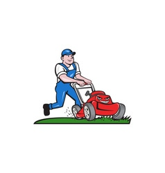 Gardener mowing lawn mower cartoon vector
