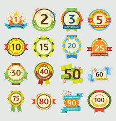 happy birthday badges set anniversary card vector image vector image