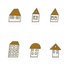 modern hands drawing houses set on white vector image