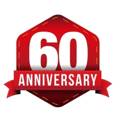 Sixty year anniversary badge with red ribbon vector image vector image