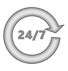 24 hours 7 day service icon gray monochrome style vector