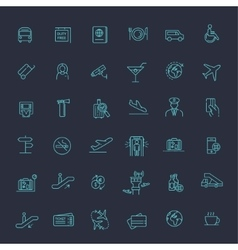 Air Travel or Airport Services outline icon set vector image