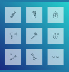barber icons line style set with shaving razor vector image