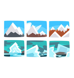 beautiful snowy mountains landscape set hills and vector image