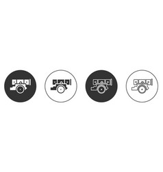 Black cannon icon isolated on white background vector