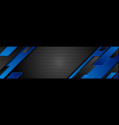 blue and black geometric shapes on dark perforated vector image